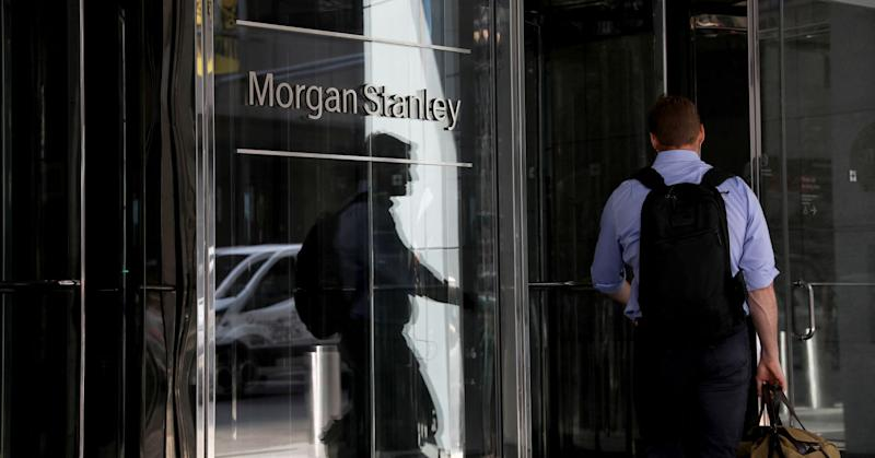 A person enters Morgan Stanley headquarters in New York, on Thursday, July 12, 2018.