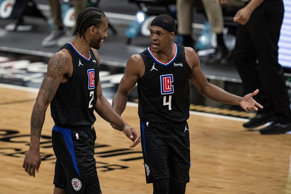 The main reason the Clippers gave up so much to land Rajon Rondo (4) is because of his reputation for holding stars like Kawhi Leonard accountable.