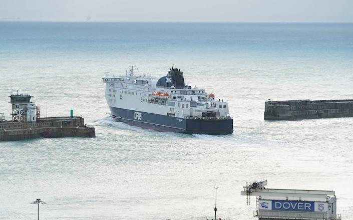 The DFDS Seaways ferry Cote des Dunes, loaded with freight lorries, departs from the Port of Dover - Aaron Chown/PA