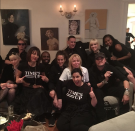 """<p>Everybody at the rocker's viewing party had on black — except her. She wrote a white Time's Up top, standing out from the crowd. (Photo: <a rel=""""nofollow noopener"""" href=""""https://www.instagram.com/p/Bdq0NElBJvF/?hl=en&taken-by=courtneylove"""" target=""""_blank"""" data-ylk=""""slk:Courtney Love via Instagram"""" class=""""link rapid-noclick-resp"""">Courtney Love via Instagram</a>) </p>"""