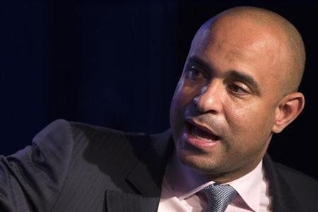 "Haitian Prime Minister Laurent Lamothe speaks during a session called ""Expanding Cross-Sector Coordination in Haiti"" at the Clinton Global Initiative 2013 (CGI) in New York"