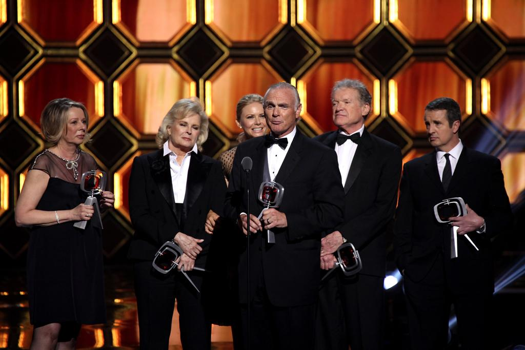 "The cast and creator of ""<a href=""http://tv.yahoo.com/murphy-brown/show/150"">Murphy Brown</a>""  -- Diane English, Candice Bergen, Faith Ford, Joe Regalbuto, Charles Kimbrough, and Grant Shaud -- were honored with the Impact Award at the 10th Annual TV Land Awards at  the Lexington Avenue Armory on April 14, 2012 in New York City. The  honor is presented to a show that offered both entertainment and  enlightenment, with comedy that reflected reality.<br><br>The  boundaries-pushing sitcom, which aired from 1988 to 1998 on CBS, starred  Bergen as the show's title character Murphy Brown, a reporter for a  successful primetime news show called ""FYI."" The series shined a light  on its characters' professional careers and personal lives and tackled  controversial subjects like single motherhood. Memorable episodes of  ""Murphy Brown"" included moments with guests stars and fellow TV Land  Awards honorees and presenters Aretha Franklin and Katie Couric."