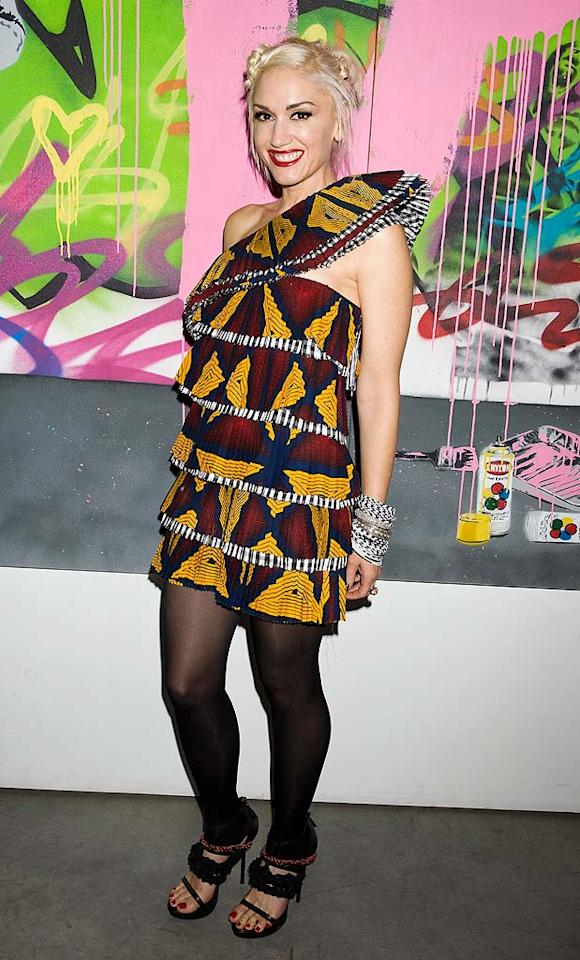 "We're no longer convinced that Gwen Stefani's line, L.A.M.B., stands for Love. Angel. Music. Baby. Based on this dress, the acronym screams: Loud. Absurd. Mediocre. Bananas. CMB/<a href=""http://www.splashnewsonline.com"" target=""new"">Splash News</a> - September 16, 2010"