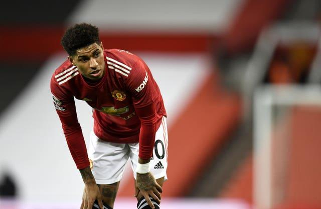 Manchester United forward Marcus Rashford has been training indoors since meeting up with his England team-mates.