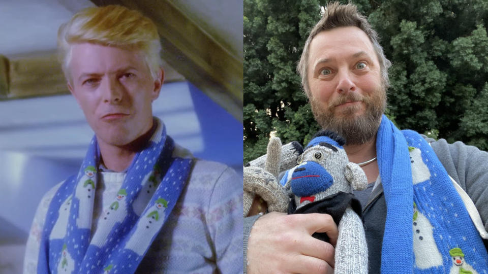 David Bowie's son, filmmaker Duncan Jones, now owns the scarf his father wore in 'The Snowman'. (Credit: Channel 4/Duncan Jones/Twitter)