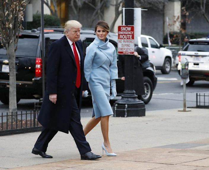 Melania Trump heading into church wearing a Ralph Lauren ensemble. (Photo: AP)