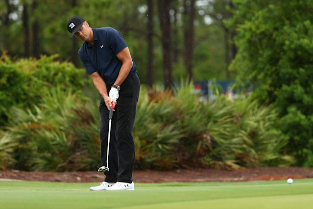 "Tom Brady putts on the sixth green during ""The Match: Champions For Charity"" at Medalist Golf Club on Sunday. (Photo by Mike Ehrmann/Getty Images for The Match)"