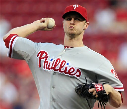 Philadelphia Phillies starting pitcher Kyle Kendrick throws against the Cincinnati Reds in the first inning of a baseball game, Tuesday, Sept. 4, 2012, in Cincinnati. (AP Photo/Al Behrman)