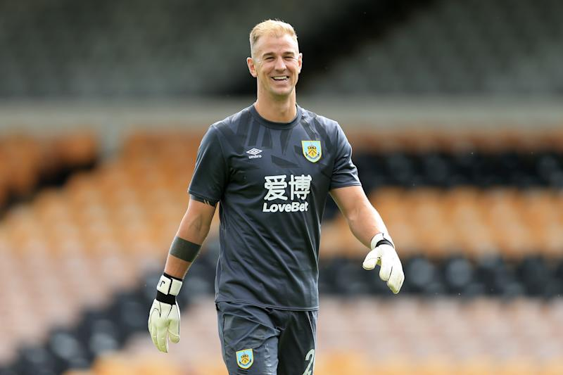 BURSLEM, ENGLAND - JULY 20: Burnley goalkeeper Joe Hart smiles during the Pre-Season Friendly match between Port Vale and Burnley at Vale Park on July 20, 2019 in Burslem, England. (Photo by Simon Stacpoole/Offside/Offside via Getty Images)