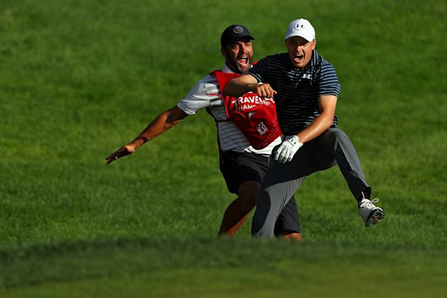 """<h1 class=""""title"""">Travelers Championship - Final Round</h1> <div class=""""caption""""> <a class=""""link rapid-noclick-resp"""" href=""""/pga/players/11107/"""" data-ylk=""""slk:Jordan Spieth"""">Jordan Spieth</a> had fun at the Travelers Championship last year, holing a bunker shot to win. (Photo by Maddie Meyer/Getty Images) </div> <cite class=""""credit"""">Maddie Meyer</cite>"""
