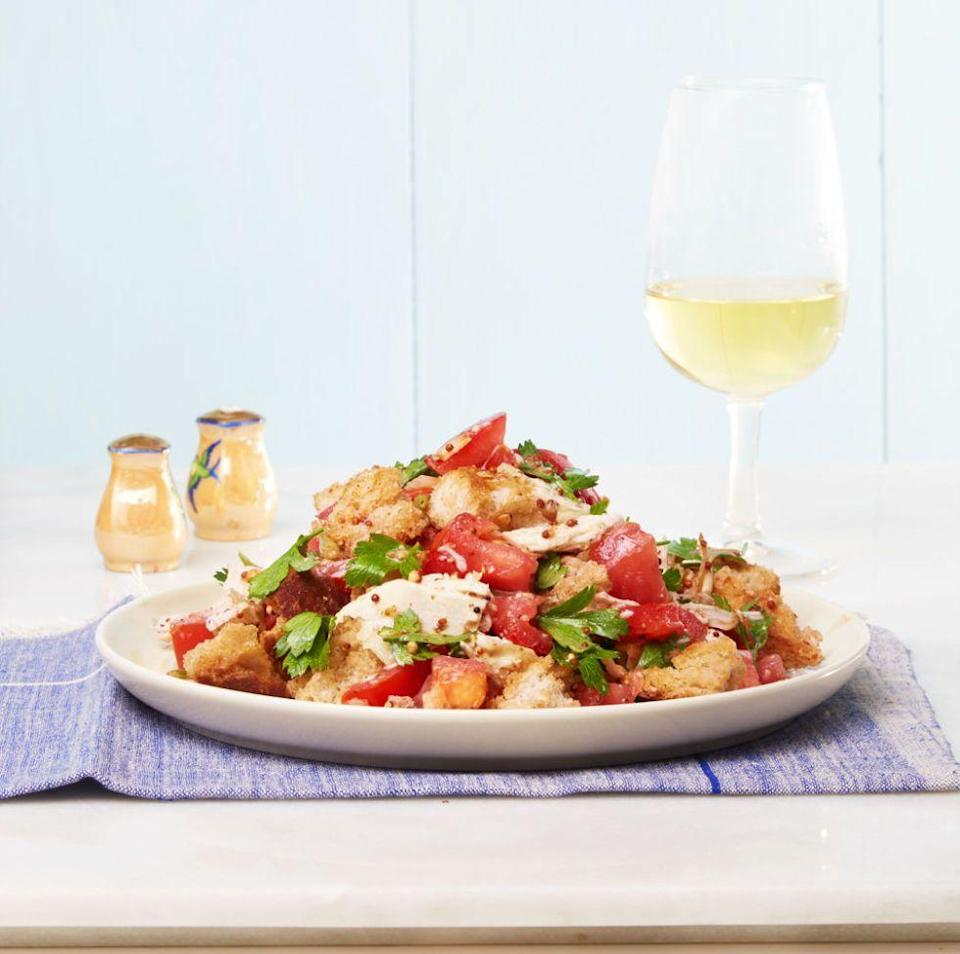 """<p>Swap lettuce for big chunks of bread in this veggie-packed salad starring some tasty leftovers. </p><p><em><a href=""""https://www.goodhousekeeping.com/food-recipes/easy/a33584/easy-chicken-panzanella-recipe/"""" rel=""""nofollow noopener"""" target=""""_blank"""" data-ylk=""""slk:Get the recipe for Easy Chicken Panzanella Salad »"""" class=""""link rapid-noclick-resp"""">Get the recipe for Easy Chicken Panzanella Salad »</a></em></p>"""