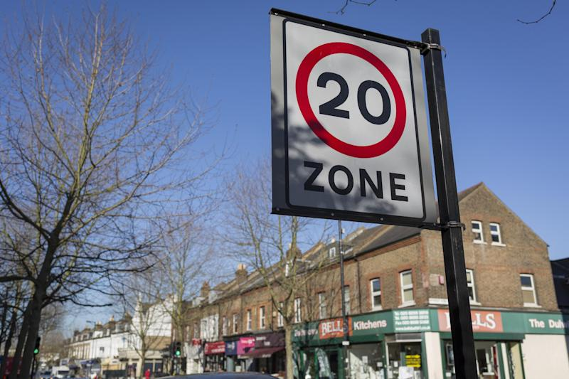 Obey: a 20mph speed limit sign (Photo: Richard Baker / In Pictures via Getty Images Images): In Pictures via Getty Images