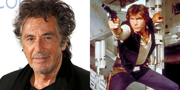 """<p>Harrison Ford was already a household name in Hollywood when he got <em>Star Wars, </em>but it was still one of his biggest roles in his career—and it's all because <a href=""""https://www.independent.co.uk/arts-entertainment/films/news/star-wars-al-pacino-turned-down-part-of-han-solo-because-the-script-was-too-confusing-9723652.html"""" rel=""""nofollow noopener"""" target=""""_blank"""" data-ylk=""""slk:Al Pacino passed"""" class=""""link rapid-noclick-resp"""">Al Pacino passed</a> on the role. Ah, what could have been. </p>"""