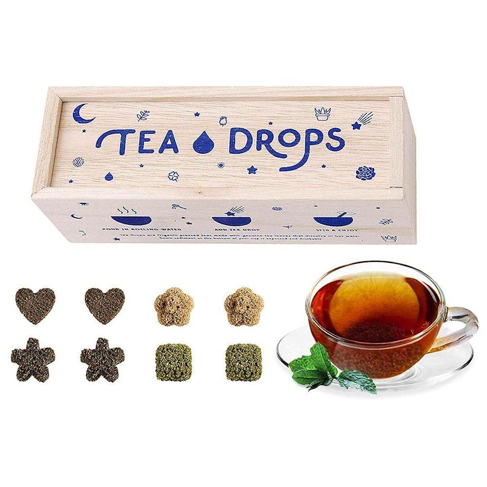 "<p><strong>Tea Drops</strong></p><p>amazon.com</p><p><strong>$16.99</strong></p><p><a href=""https://www.amazon.com/dp/B0155KFTHS?tag=syn-yahoo-20&ascsubtag=%5Bartid%7C10055.g.153%5Bsrc%7Cyahoo-us"" rel=""nofollow noopener"" target=""_blank"" data-ylk=""slk:Shop Now"" class=""link rapid-noclick-resp"">Shop Now</a></p><p>No strainers required: They can drop these adorably shaped teas straight into their mug to enjoy their sweet flavor. This 8-piece sampler set will give them a taste of all that Tea Drops has to offer, ranging from caffeinated green tea to cooling sweet peppermint. </p>"