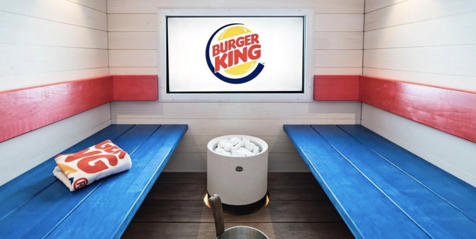 """<p>Indoor jungle gym? Yawn. A full-blown spa?? Weird flex but okay!! This <a href=""""https://www.cnn.com/travel/article/burger-king-sauna-spa-helsinki-finland/index.html"""" rel=""""nofollow noopener"""" target=""""_blank"""" data-ylk=""""slk:Burger King in Finland"""" class=""""link rapid-noclick-resp"""">Burger King in Finland</a> features a 15-person shower, locker room, and media lounge. Because if you're going to eat a Whopper, you might as well sweat it out afterward, right?</p>"""