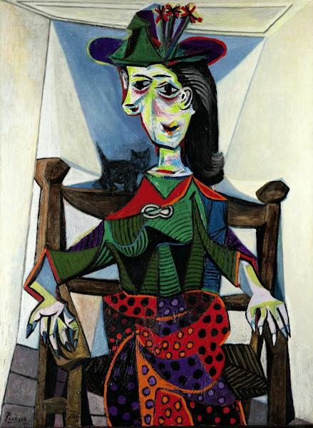 "FILE - This undated photo provided by Sotheby's shows ""Dora Maar au Chat,"" by Pablo Picasso. The 1941 painting, which sold in May 2006 for $95,216,000  is one of eight works that have sold for $80 million or more at auction. When Edvard Munch's ""The Scream,"" is auctioned at Sotheby's in New York Wednesday May 2, 2012, it could sell for $80 million or more. (AP Photo/ Sotheby's, File)"