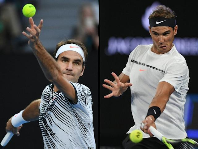 The greatest rivalry in tennis resumes at the final of the Miami Open when Roger Federer (L) and Rafael Nadal (R) meet at Crandon Park on Key Biscayne (AFP Photo/WILLIAM WEST, SAEED KHAN )