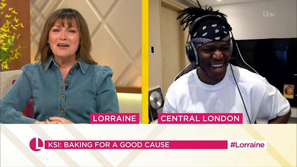 Mandatory Credit: Photo by ITV/Shutterstock (11825020p) Lorraine Kelly and KSI 'Lorraine' TV Show, London, UK - 22 Mar 2021