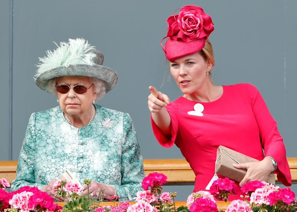ASCOT, UNITED KINGDOM - JUNE 23: (EMBARGOED FOR PUBLICATION IN UK NEWSPAPERS UNTIL 24 HOURS AFTER CREATE DATE AND TIME) Queen Elizabeth II and Autumn Phillips attend day 5 of Royal Ascot at Ascot Racecourse on June 23, 2018 in Ascot, England. (Photo by Max Mumby/Indigo/Getty Images)
