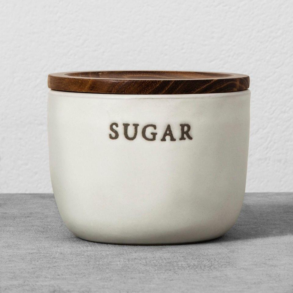 """<p>Chip and Jo love an unnecessary written reminder as to what something's function is — like a """"Laundry"""" sign in a laundry room or a table runner that says """"Eat."""" It appears Target shoppers do, too, since this """"Sugar"""" sugar cellar is all over Instagram.<br></p>"""