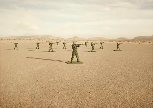 "<p>""Toy Soldiers"": Toy soldiers, Budraiga No. 2, Polisario soldiers in Western Sahara. ""Toy Soldiers"" is a unique collaboration between a military commander and an artist in the creation of an allegory of modern warfare that stages real soldiers, posed as toy soldiers, in an investigation into the impact, legacy and dehumanizing effects of war. The series is set in Western Sahara, an invisible conflict stuck within a paradigm of postcolonial conflict for more than 40 years. (© Simon Brann Thorpe from ""War Is Only Half the Story,"" the Aftermath Project & Dewi Lewis Publishing) </p>"