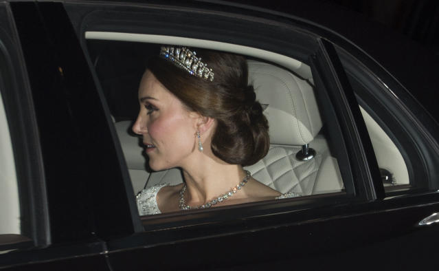 The Duchess of Cambridge borrowed Diana's tiara once again. (Photo: Getty)