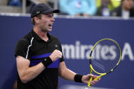 Botic Van de Zandschulp, of the Netherlands, reacts after defeating Diego Schwartzman, of Argentina, during the fourth round of the US Open tennis championships, Sunday, Sept. 5, 2021, in New York. (AP Photo/John Minchillo)