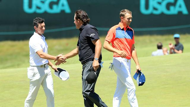 All eyes were on Jordan Spieth, Rory McIlroy and Phil Mickelson as they teed off together at the U.S. Open, but things did not go to plan.
