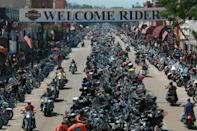 """<p>High up on the list is Sturgis Rally in South Dakota. Over 700,000 bikers head to the Black Hills every August for some old- fashioned rock and country music - so far, doesn't sound so bad. However there is also some good old-fashioned brawling and body shots - ah, we may stay away from this one. <i><a href=""""http://motorcyclelawyer.ca/sturgis-2015-expects-one-million/"""" rel=""""nofollow noopener"""" target=""""_blank"""" data-ylk=""""slk:[Photo: Motorcycle Lawyer]"""" class=""""link rapid-noclick-resp"""">[Photo: Motorcycle Lawyer] </a></i></p>"""
