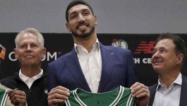 Enes Kanter officially became a member of the Boston Celtics on Wednesday, and he wasted no time winning over the fans.
