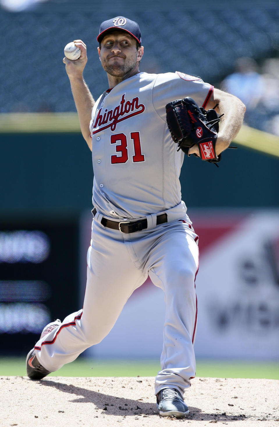 Washington Nationals' Max Scherzer pitches against the Detroit Tigers during the first inning of a baseball game Sunday, June 30, 2019, in Detroit. (AP Photo/Duane Burleson)
