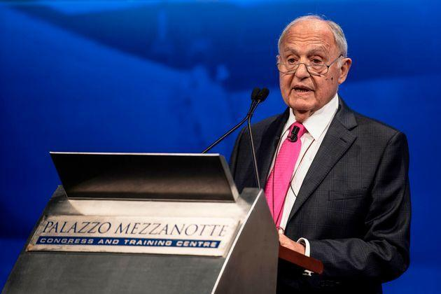 President of Consob (Commissione Nazionale per la Societa' e la Borsa, National Commission for companies and stock exchange) Paolo Savona gives a speech during the annual meeting with financial market in Palazzo Mezzanotte in Milan, on June 14, 2019. (Photo by MARCO BERTORELLO / AFP) (Photo by MARCO BERTORELLO/AFP via Getty Images) (Photo: MARCO BERTORELLO via Getty Images)