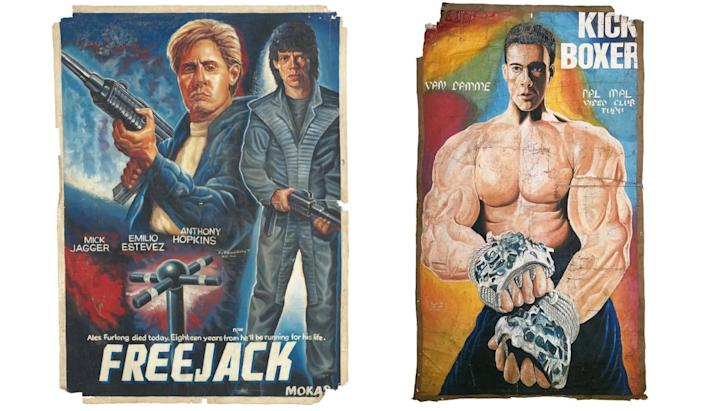 "Posters from ""Baptized by Beefcake: The Golden Age of Hand-Painted Movie Posters from Ghana."" <b>Left</b>: <i>Freejack</i>, 1992, by Alex Boateng. <b>Right</b>: <i>Kick Boxer</i>, 1994, by Muslim."