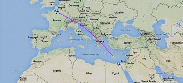 The path of missing flight MS804
