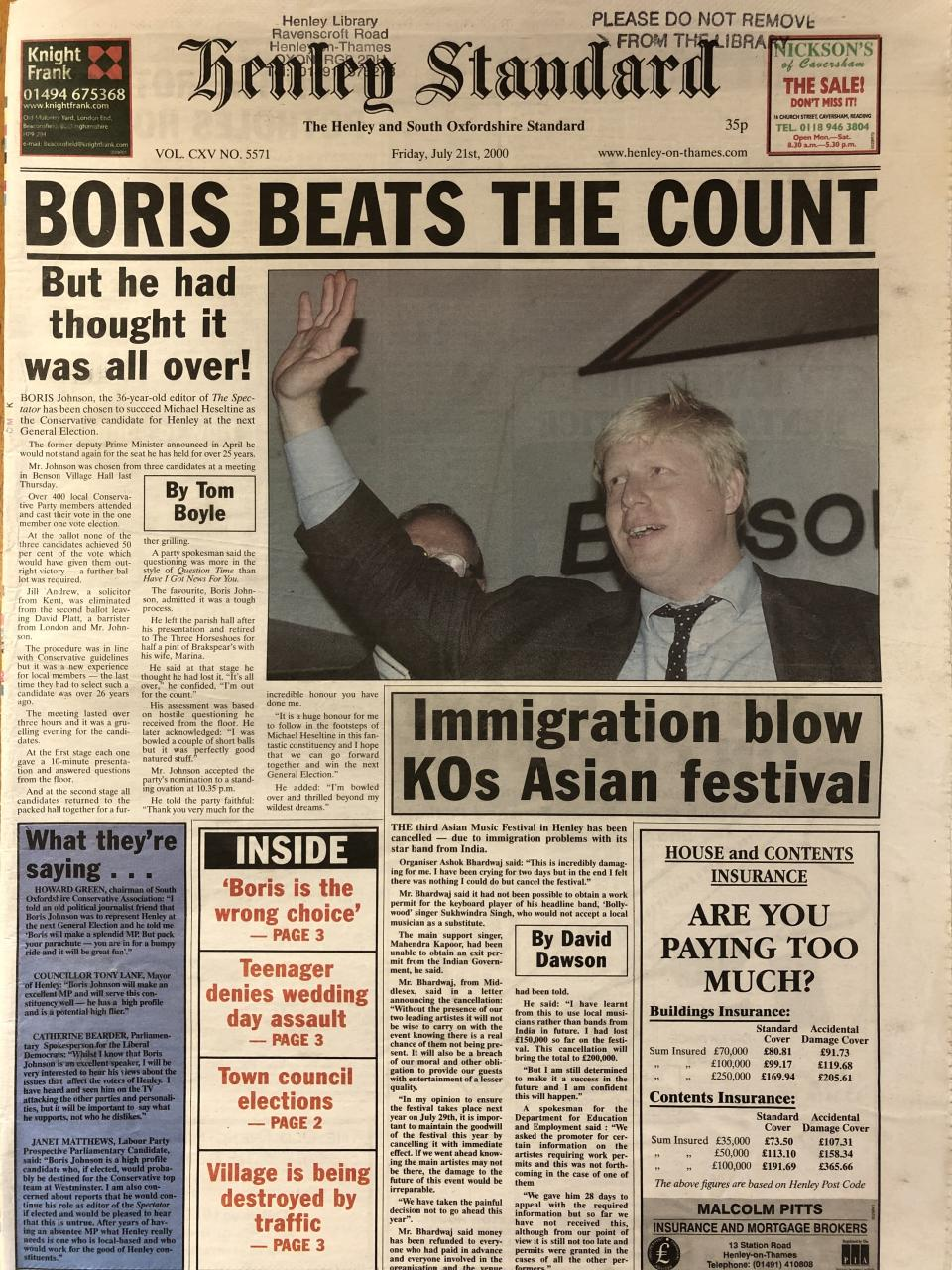 'Boris beats the count': How the Henley Standard reported Mr Johnson's selection as Tory candidate in July 2000 (Henley Standard/Henley Library)