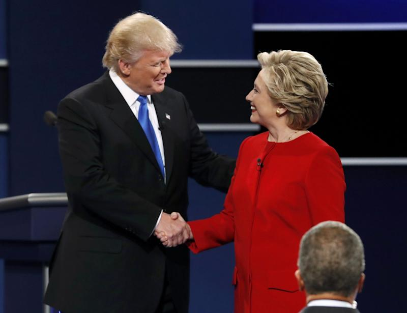 Donald Trump and Hillary Clinton at the debate. (Photo: Mike Segar/Reuters)