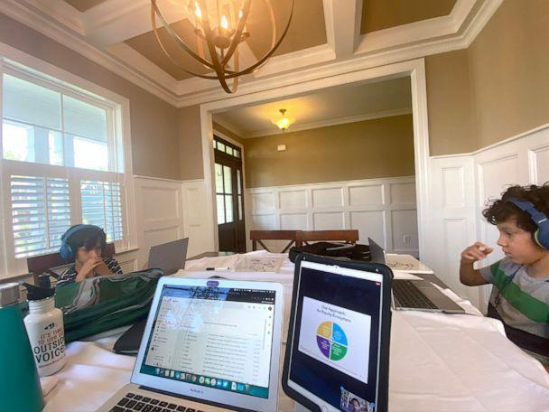 PHOTO: Tina Sherman takes a photo from her perspective while working from home, as her twin sons do virtual learning. (Tina Sherman)