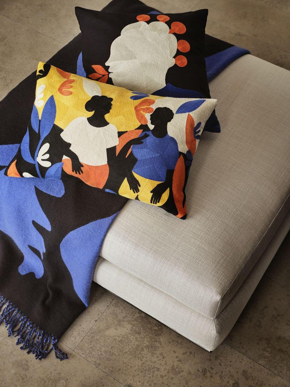 """<p>Accentuate your decor with Italian-Nigerian Diana Ejaita's colourful cushions. Featuring images that portray the strength of femininity, each cushion cover has an embroidered motif on the front depicting a close conversation. They're right at the top of our wish list...</p><p><a class=""""link rapid-noclick-resp"""" href=""""https://www2.hm.com/en_gb/productpage.1009279001.html"""" rel=""""nofollow noopener"""" target=""""_blank"""" data-ylk=""""slk:BUY NOW"""">BUY NOW</a></p>"""