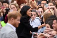 FILE PHOTO: Britain's Prince Harry and Meghan, the Duchess of Sussex, shake hands with members of the crowd during a walkabout in Parliament Square in Trinity College, Dublin