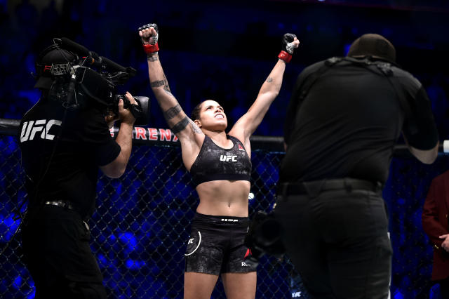 Amanda Nunes will defend her featherweight belt Saturday at UFC 250 after having made back-to-back defenses of her bantamweight title. (Photo by Chris Unger/Zuffa LLC)