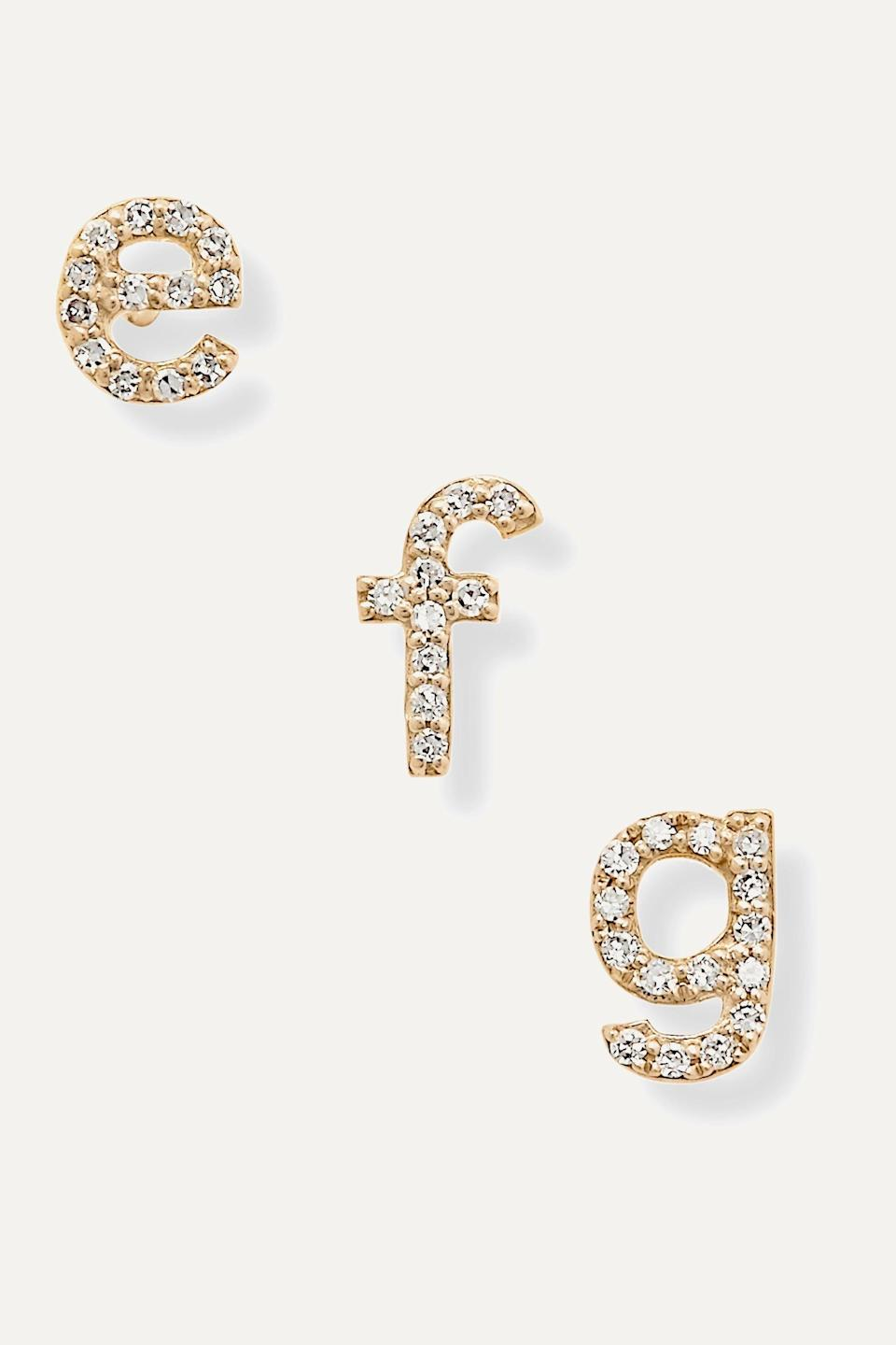 """<h3>Stone & Strand Single Alphabet Earring<br></h3> <br>These individual diamond-studded 14K gold letter earrings from Stone and Strand are surprisingly hefty, given their competitive cost.<br><br><em>Shop <strong><a href=""""https://www.net-a-porter.com/en-us/shop/designer/stone-and-strand"""" rel=""""nofollow noopener"""" target=""""_blank"""" data-ylk=""""slk:Stone & Strand"""" class=""""link rapid-noclick-resp"""">Stone & Strand</a></strong></em><br><br><strong>Stone and Strand</strong> Alphabet 14-karat gold diamond single earring, $, available at <a href=""""https://go.skimresources.com/?id=30283X879131&url=https%3A%2F%2Fwww.net-a-porter.com%2Fen-us%2Fshop%2Fproduct%2Fstone-and-strand%2Falphabet-14-karat-gold-diamond-earring%2F1244873"""" rel=""""nofollow noopener"""" target=""""_blank"""" data-ylk=""""slk:Net-A-Porter"""" class=""""link rapid-noclick-resp"""">Net-A-Porter</a><br><br><br>"""