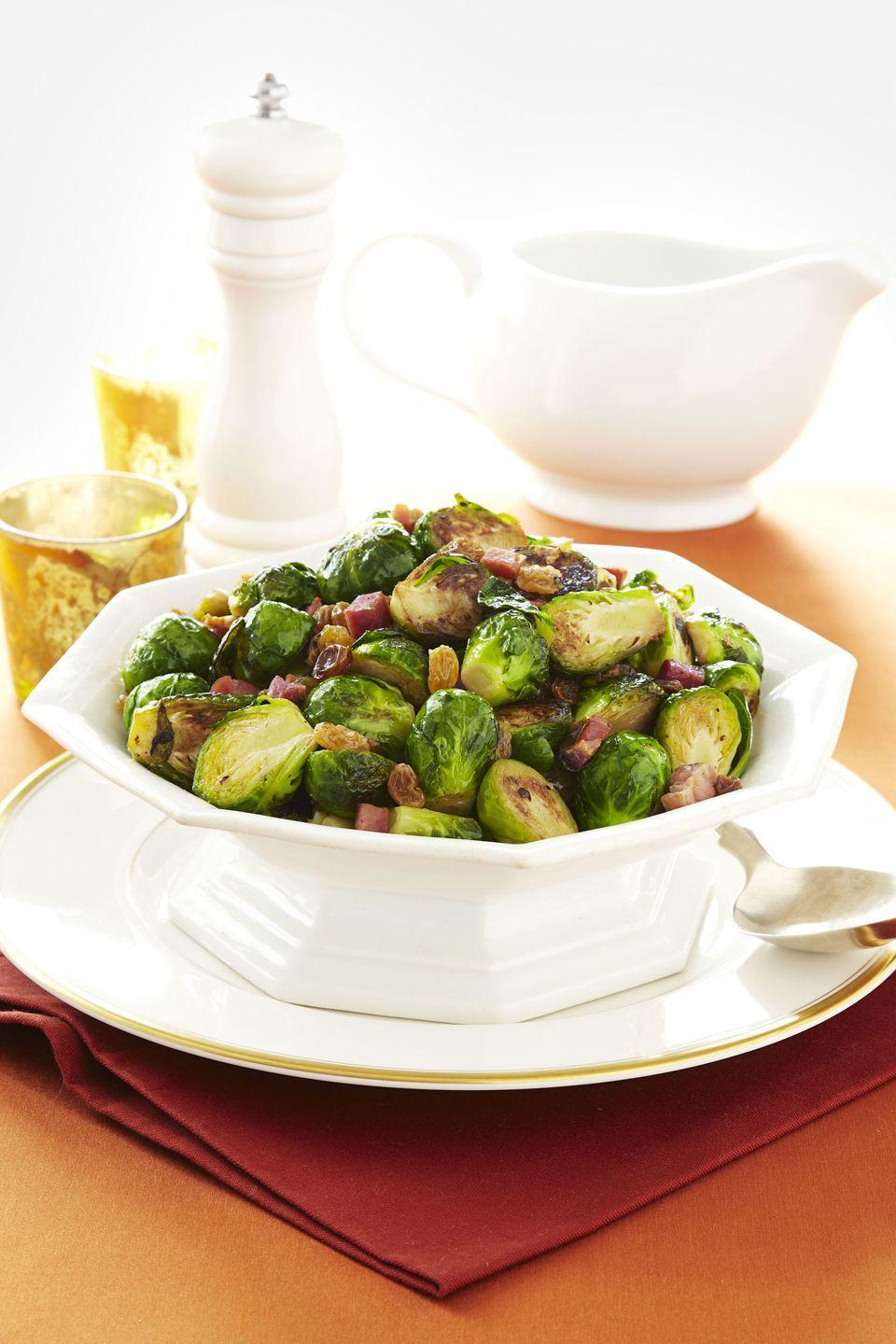 "<p>The addition of bacon will help convert any Brussels sprouts haters in this easy veggie side. Or, be super fancy like Ina and use pancetta.</p><p><em><a href=""https://www.goodhousekeeping.com/food-recipes/a11079/brussels-sprouts-lardons-recipe-ghk1111/"" rel=""nofollow noopener"" target=""_blank"" data-ylk=""slk:Get the recipe for Brussels Sprouts Lardons »"" class=""link rapid-noclick-resp"">Get the recipe for Brussels Sprouts Lardons »</a></em></p><p><strong>RELATED: </strong><a href=""https://www.goodhousekeeping.com/holidays/thanksgiving-ideas/g1202/thanksgiving-side-dishes/"" rel=""nofollow noopener"" target=""_blank"" data-ylk=""slk:40 Thanksgiving Side Dishes That Will Steal the Show"" class=""link rapid-noclick-resp"">40 Thanksgiving Side Dishes That Will Steal the Show</a></p>"