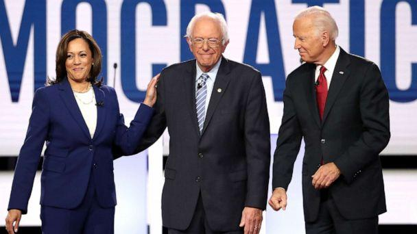 PHOTO: Sen. Kamala Harris, Sen. Bernie Sanders, and former Vice President Joe Biden enter the stage before the Democratic Presidential Debate at Otterbein University on October 15, 2019 in Westerville, Ohio. (Win Mcnamee/Getty Images)