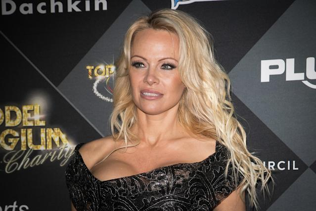 Pamela Anderson shared a first photo of her and husband Jon Peters. (Photo: Marc Piasecki/Getty Images)