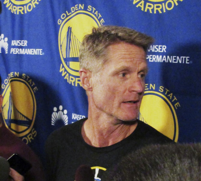 Golden State Warriors coach Steve Kerr speaks to reporters at the team hotel in Portland, Ore., Sunday, April 23, 2017. Kerr announced he won't be on the sidelines for the NBA basketball team's Game 4 playoff game against the Portland Trail Blazers on Monday night. (AP Photo/Anne Peterson)