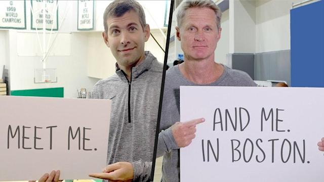 One lucky Positive Coaching Alliance donor won the chance to meet Brad Stevens and Steve Kerr before Thursday's game. (@omaze via Twitter)