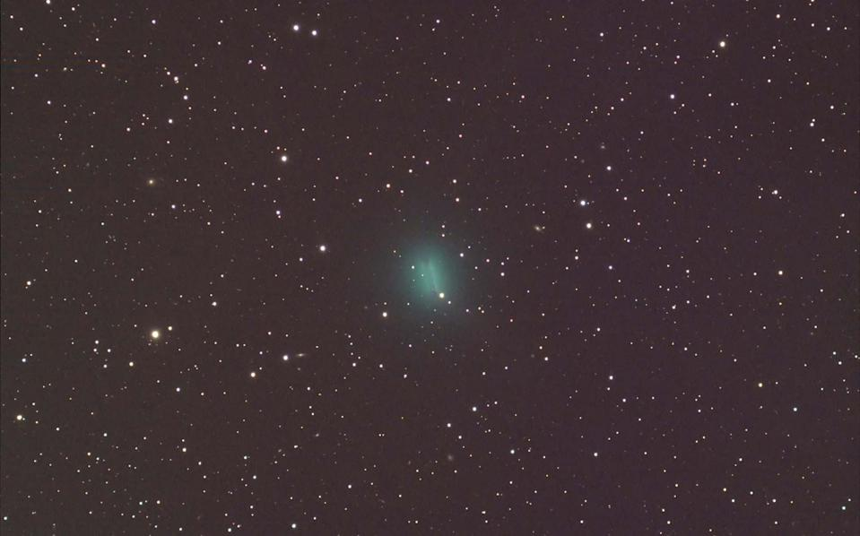 Comet C/2019 Y4 Atlas is slowly brightening in the night sky as it gets ready to swing around the sun in a couple months. Astrophotographer Mike Cuffe captured these two images of the green comet through his backyard telescope on Monday (March 23). In the first stacked image, the comet appears a bit blurry as it moves across a fixed background of stars. For the second image, the telescope was fixed on the comet, so the background stars appear as short trails behind a sharper image of the comet. Comet C/2019 Y4 Atlas is expected to make its closest approach to Earth on May 23, about one week before it reaches perihelion, or its closest point to the sun. It will brighten dramatically during this approach, and it may become visible to the naked eye in late April or May.