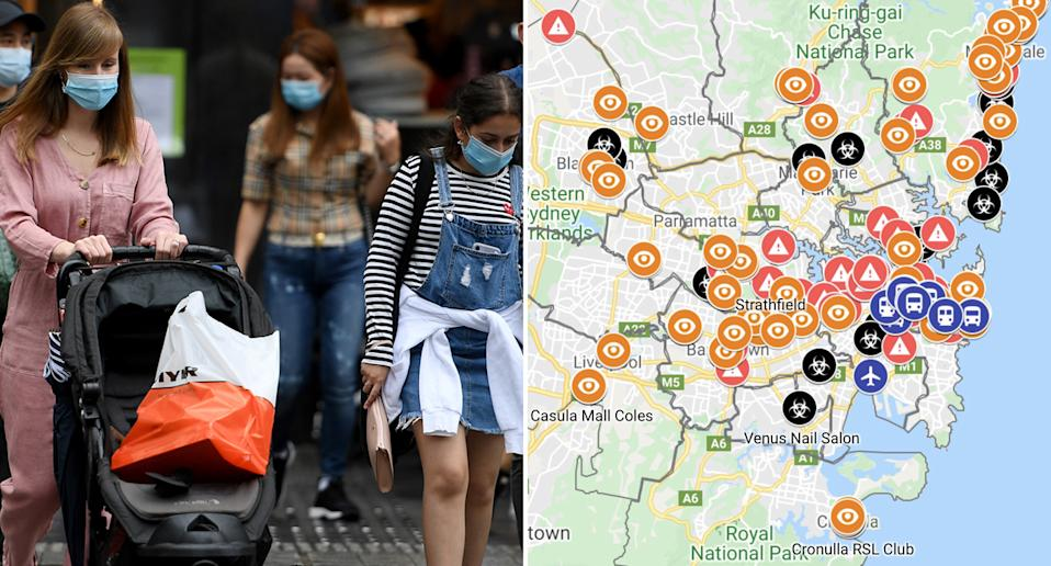 People wearing masks while shopping in Sydney (left) and a map of covid exposure sites in NSW (right)