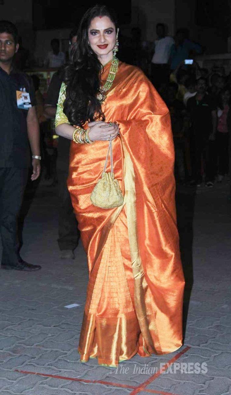 rekha, rekha birthday, happy birthday rekha, hbd rekha, actress rekha, rekha fashion, rekha style, rekha kanjeevaram saris, rekha latest looks, rekha updates, rekha latest pics, rekha saris, rekha traditional wear, rekha amitabh bachchan, rekha latest news, celeb fashion, bollywood fashion, indian express, indian express news