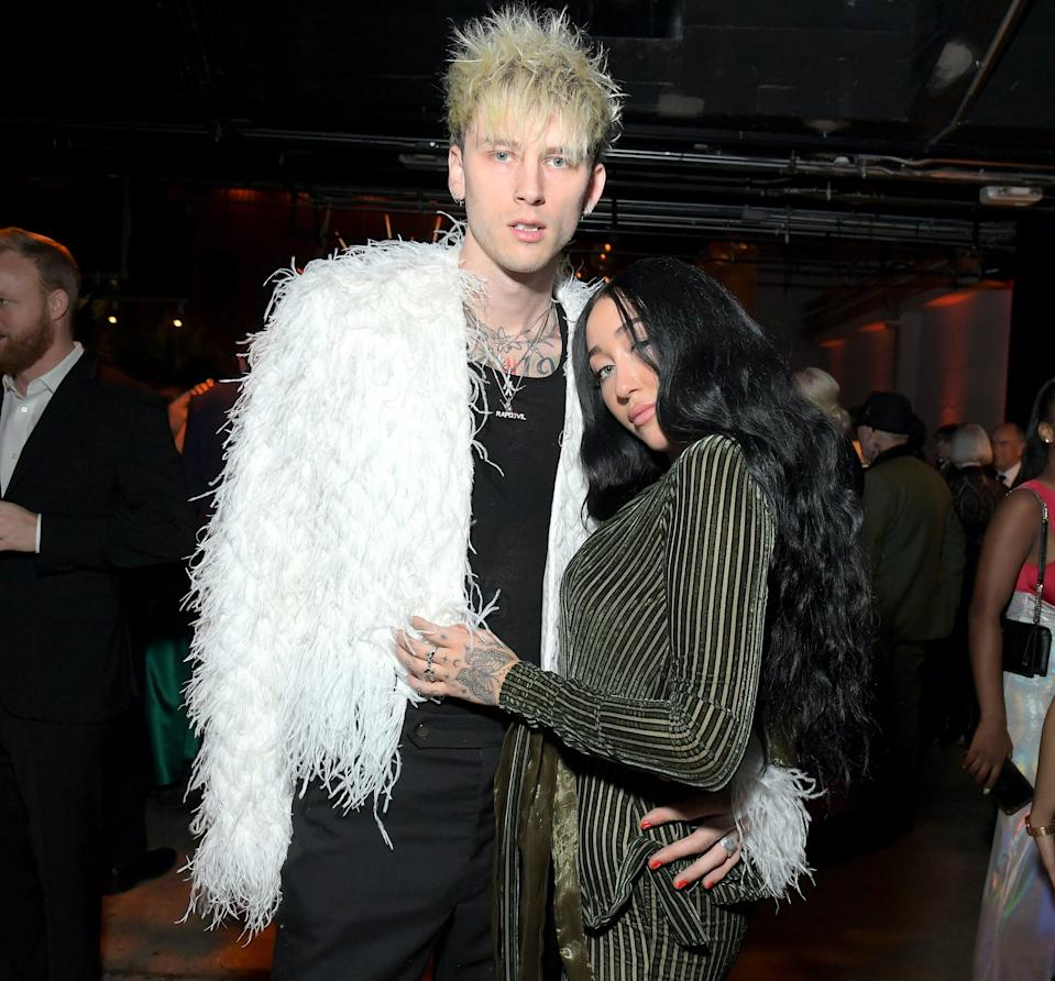 "<p><a href=""https://people.com/music/grammys-2020-machine-gun-kelly-noah-cyrus-hold-hands-afterparty/"" class=""link rapid-noclick-resp"" rel=""nofollow noopener"" target=""_blank"" data-ylk=""slk:Noah and Machine Gun Kelly sparked romance rumors"">Noah and Machine Gun Kelly sparked romance rumors</a> in late January when they were spotted getting cozy at a Grammys afterparty. However, the pair never confirmed a relationship.</p>"